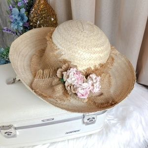 Vintage Garden Hat with English Roses